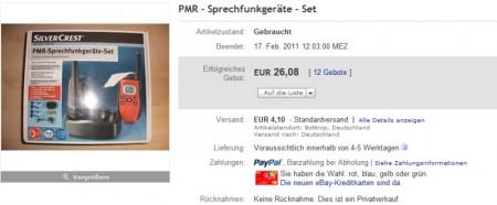 Ebay-Gebot über Handelspreis