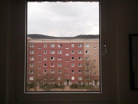 Der Blick aus meinem Fenster. Nicht schön, aber im Prüfungsstress ab und an der einzige Kontakt zur Außenwelt.