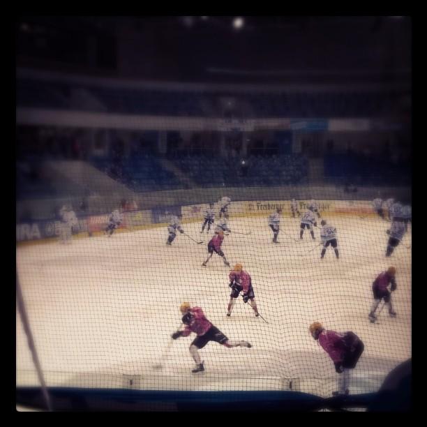 Endlich wieder Eishockey. Größere Angriffszone, neue Regeln, aber die Trikots der Pinguine sind immer noch rosa.